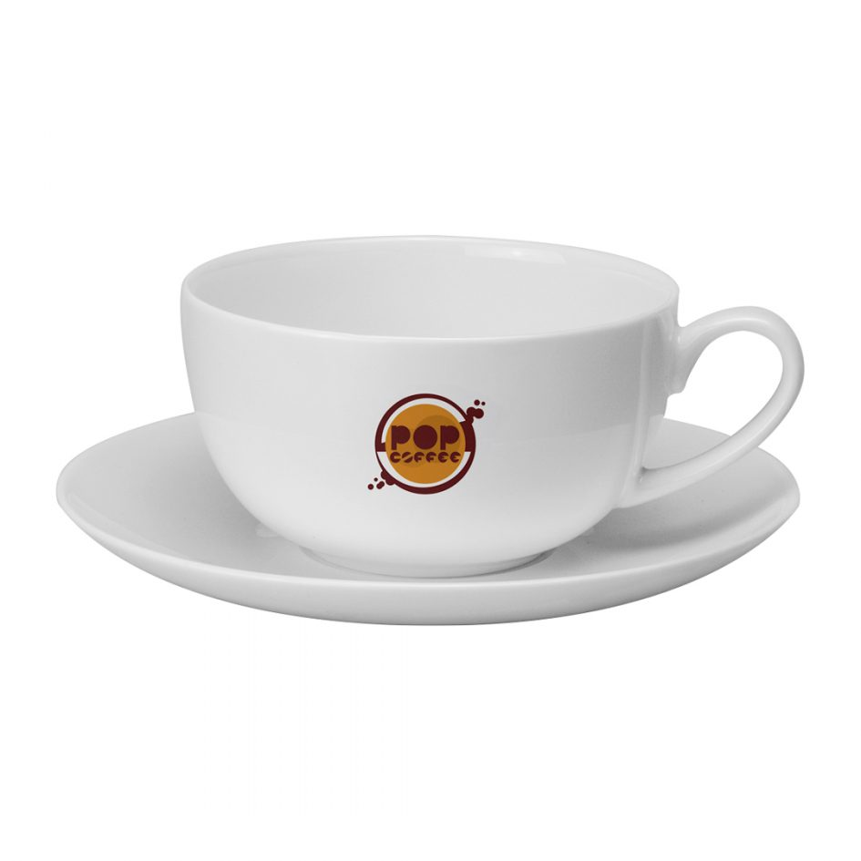 Printed Promotional Cappuccino Cup and Saucer