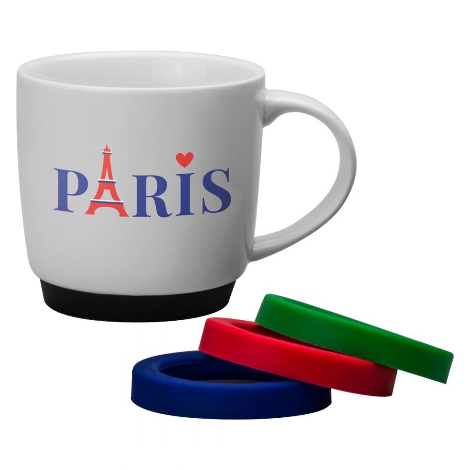 Printed Promotional Porcelain Paris Mug with Coloured Bases